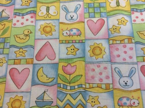 Fabri-Quilt Cute Baby Fabric #100-191 100/% Cotton By 0.25m Party Animals
