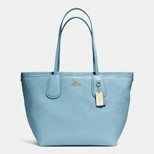 NWT Coach Taxi Baby Diaper Bag Blue Crossgrain Leather Multifunction Tote 34522