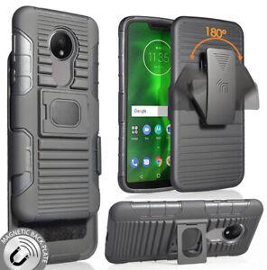 Black-Rugged-Grip-Case-Cover-Belt-Clip-Holster-for-Motorola-Moto-G7-Power-Supra