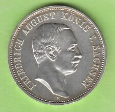 Sachsen 3 Mark 1909 fast Stempelglanz toll erhalten nswleipzig