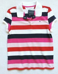 Tommy-Hilfiger-Girl-039-s-Striped-Short-Sleeve-Polo