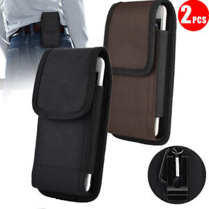 2Pcs-Canvas-Vertical-Case-Cover-Pouch-Holster-With-Belt-Loop-For-Large-Cellphone