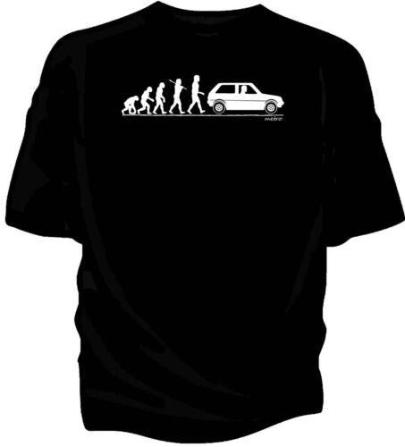 Evolution of Man Austin Mini Metro classic car t-shirt.