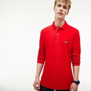 0931f2d65 LACOSTE Men s Classic L.12.12 LONG SLEEVE Pique Polo Shirt  RED ...