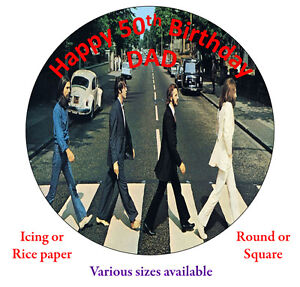 The Beatles Abbey Road Personalised Edible Cake Topper