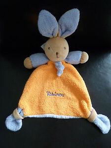 30-Doudou-lapin-plat-TAKINOU-orange-violet-dessous-blanc-ETAT-NEUF