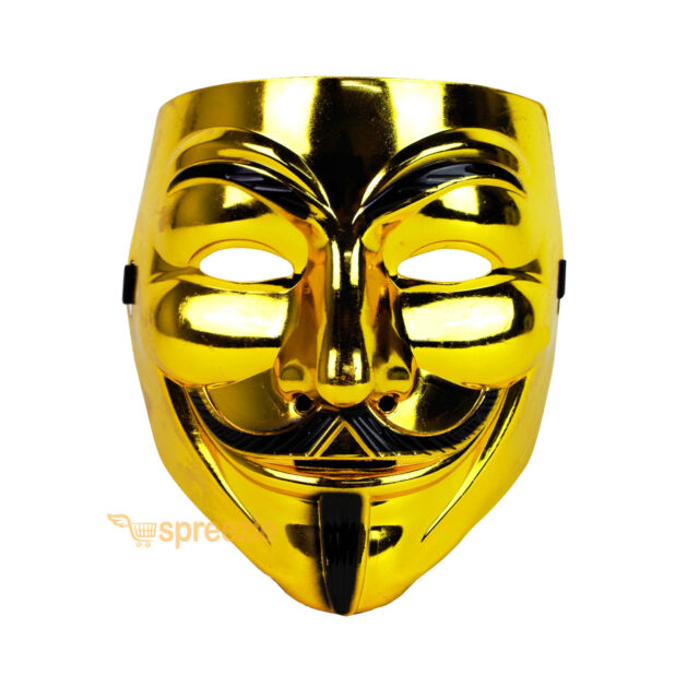Gold V For Vendetta Face Mask Guy Fawkes Halloween Party Masquerade Anonymous