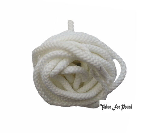 Polyester ParaCord 5mm WHITE Braided Rope Cord Soft Lace Color Sewing Trim Craft