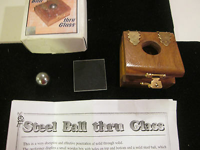 Close-Up Illusion Penetration Steel Ball Through Glass Magic Trick Wooden