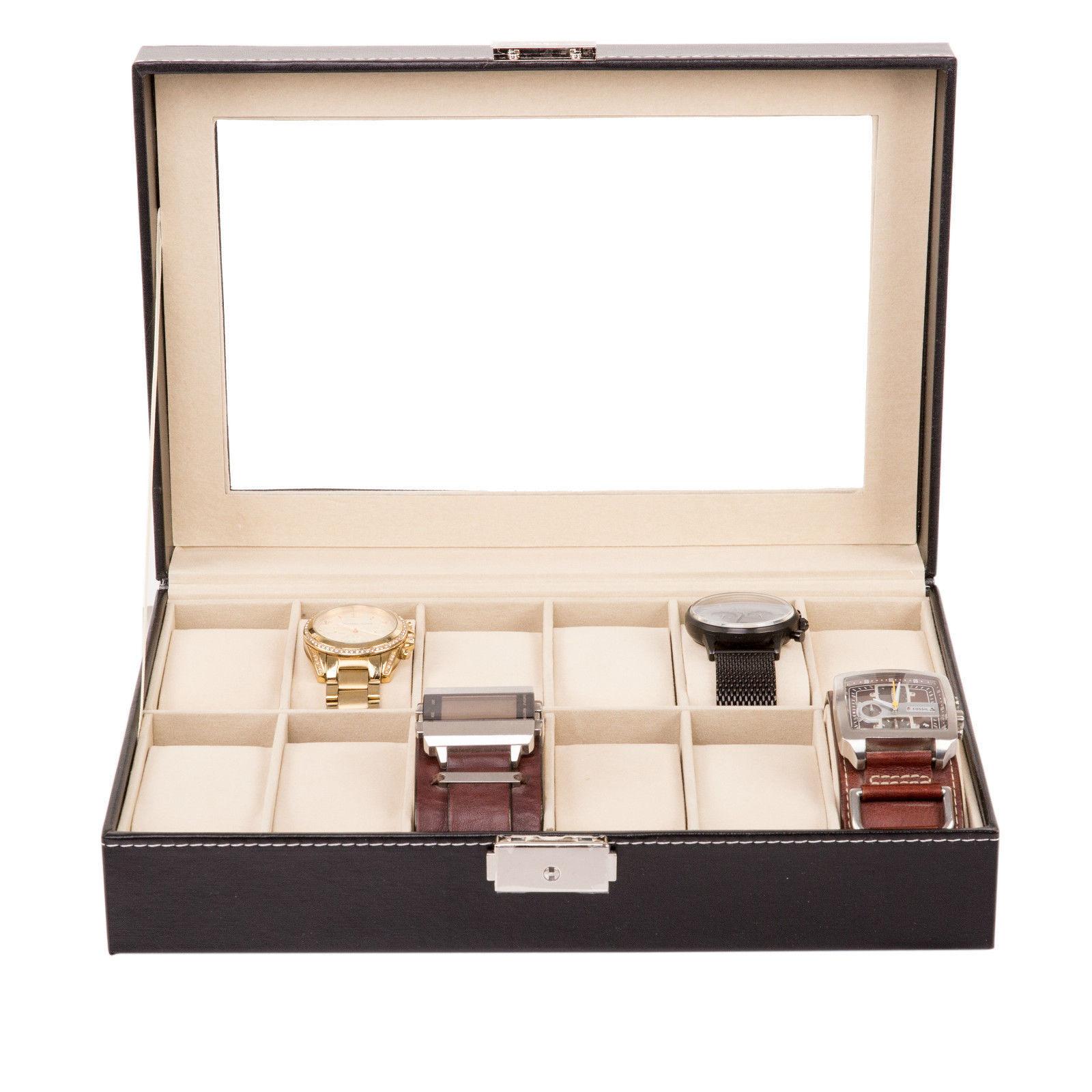 Uhrenbox Uhrenkoffer für 24 Uhren Uhrentruhe Uhrenkasten Uhrenschatulle Vitrine