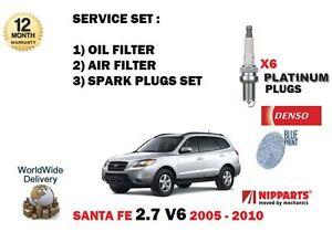 FOR HYUNDAI SANTA FE 2.7 V6 2005-2010 NEW OIL AIR FILTER KIT + SPARK PLUGS SET