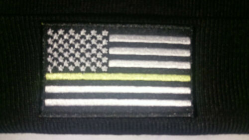 Thin Blue Line Police Law Enforcement Fold Over Knit Cap Beanie hat USA Flag