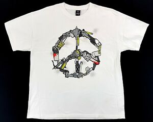 Vintage-10-Deep-Be-Easy-Weapons-Peace-Sign-White-Tee-Size-XL-Mens-T-Shirt-2006