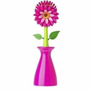 Vigar-Dolls-Flower-Power-Spuelbuerste-Vase-pink-Reinigungsbuerste-Blume-mit-Halter