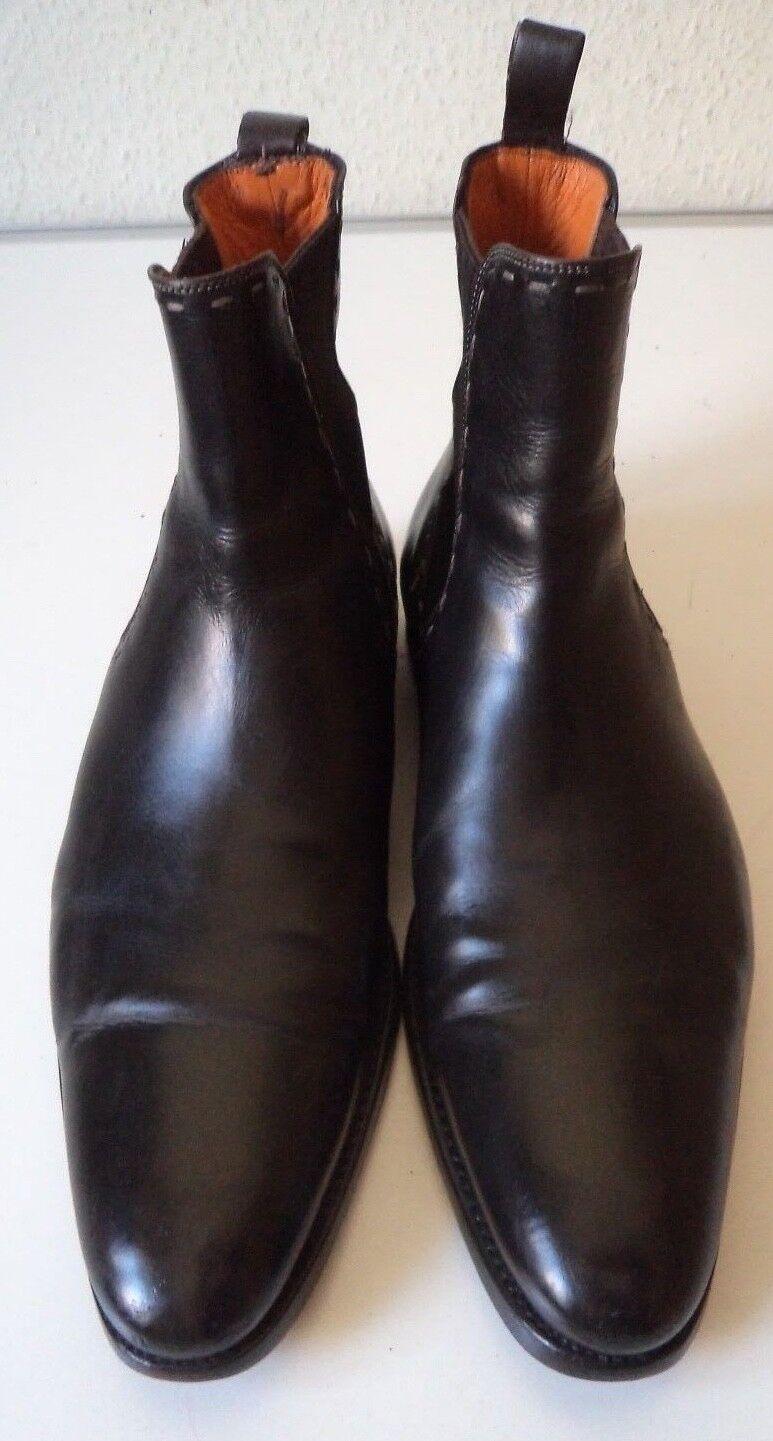 Santoni ITALY Chelsea Boots in Pelle Morbida Alta Elegante Tg. in Nero