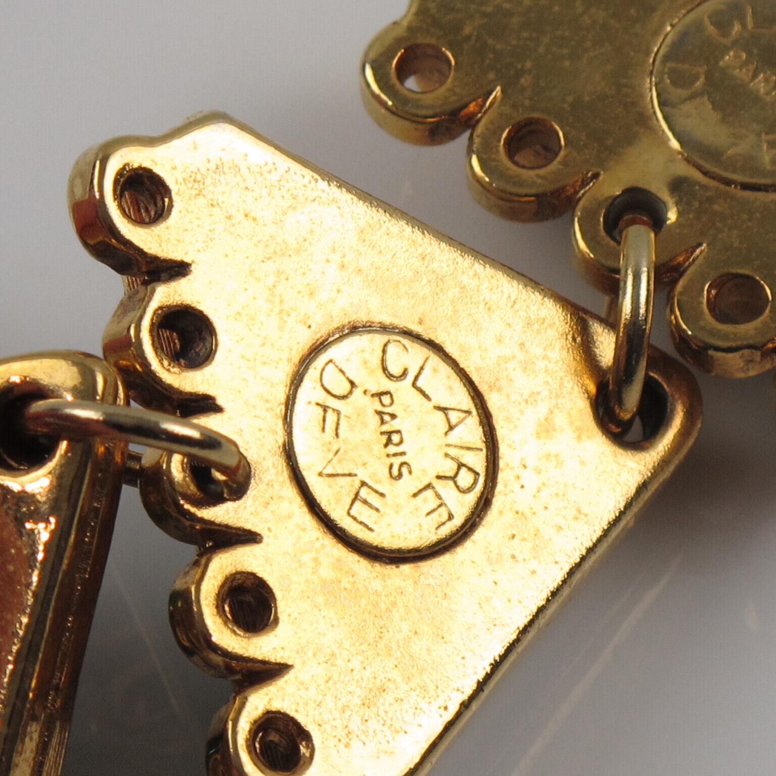 Vintage Claire Deve Paris Signed Link Bracelet Cr… - image 5