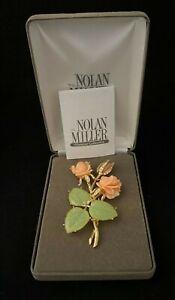 Nolan-Miller-ANN-MARGARET-ROSE-PIN-Rhinestone-Lucite-Faux-Jade-Brooch