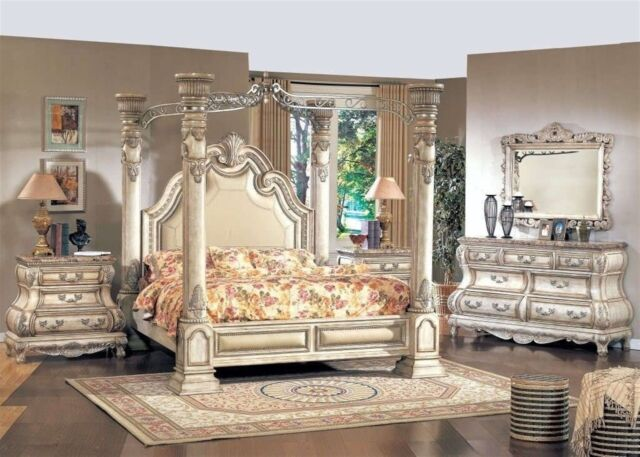 Traditional King White Leather Poster Canopy Bed 4 pc Bedroom Set w Marble  Tops