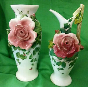 Two-2-1946-Antique-Italian-Hand-Painted-Porcelain-Vases-with-Applied-Roses