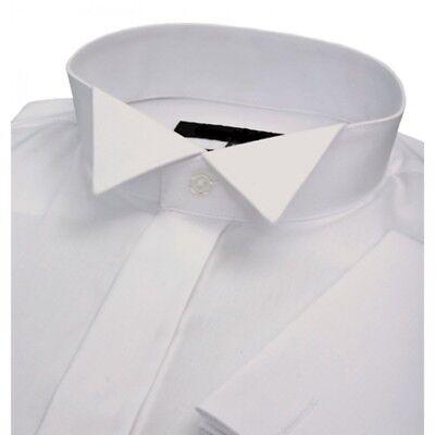 MENS NEW IVORY CREAM WING COLLAR WEDDING DRESS TUXEDO PROM COTTON BLEND SHIRT
