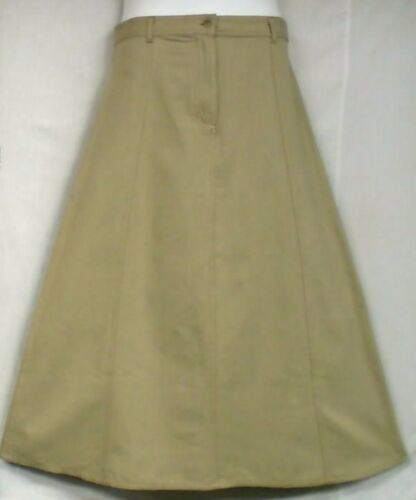 Women Ottoman Denim Cotton Skirt  Non Stretch A-Line Maxi Khaki Size 1X 2X 3X