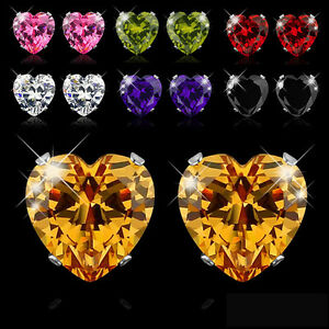 Vogue-Various-Colors-Heart-CZ-Zircon-Crystal-316L-Stainless-Steel-Stud-Earrings