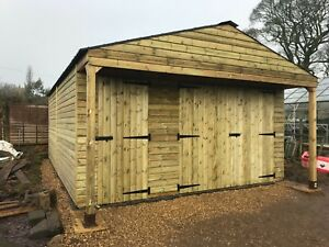 REDWOOD-Summerhouse-Timber-wooden-Garage-Workshop-shed-building-15ft-x-18ft