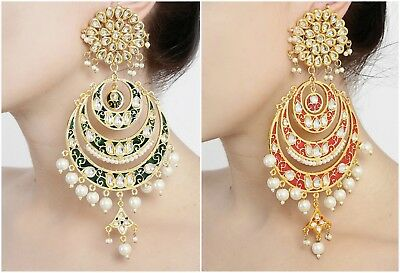 Indian Bollywood Wedding Long Dangler Meenakari Earring Set