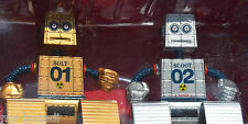 WIND UP Fighting ROBOTS Paladone Lot of TWO Bolt Scoot Gold Silver in Package