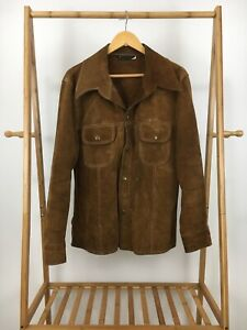 VTG-70s-JCPenny-Men-039-s-Brown-Suede-Leather-Snap-Button-Western-Jacket-Sz-42-RARE