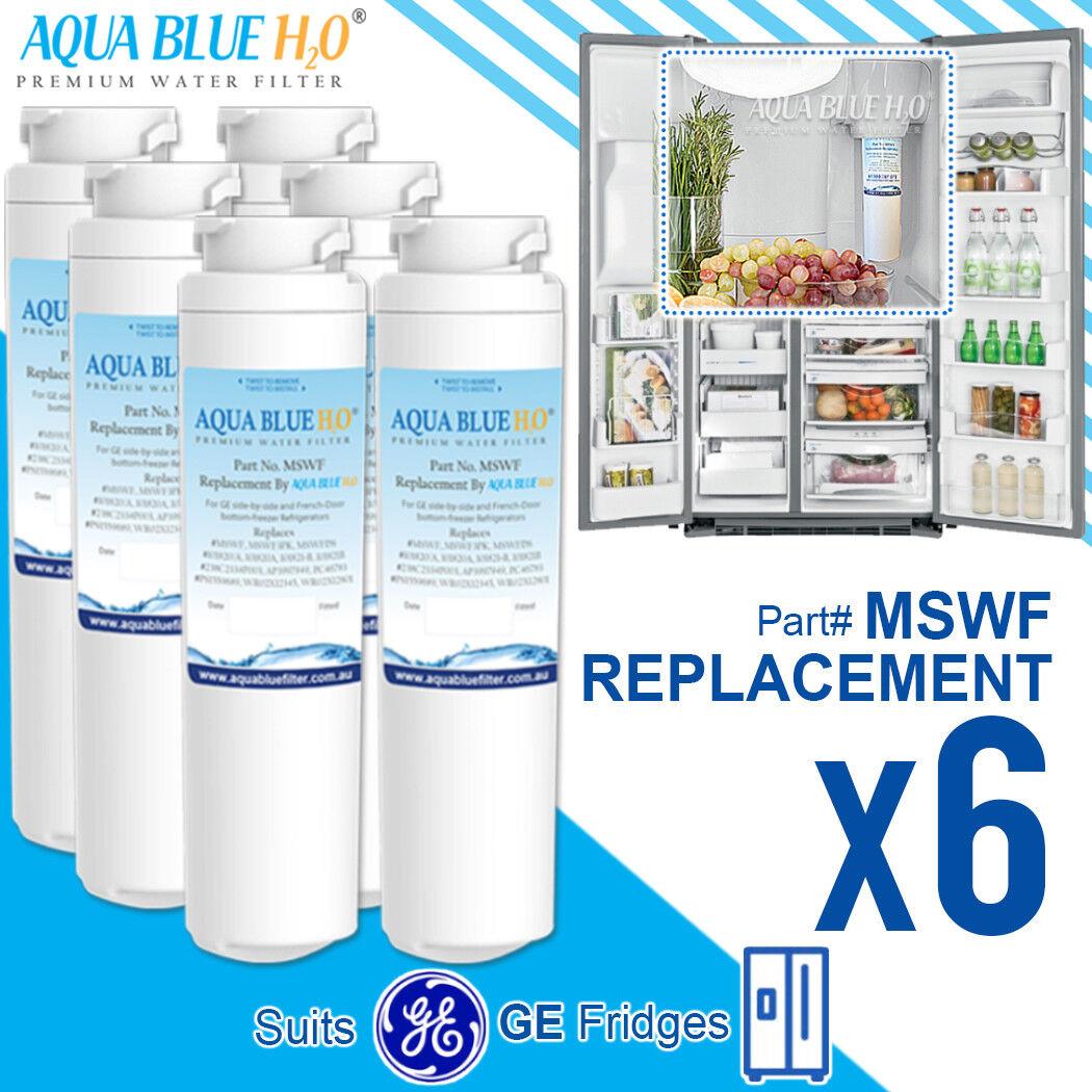 6 x GE MSWF Premium Compatible Fridge Water Filter Fits ESF25KGWA ESS25KSWA