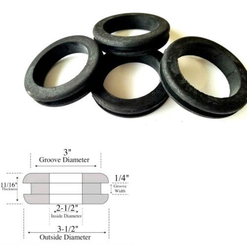 """Fits 3/"""" Panel Holes Lot of 4 Heavy Duty Rubber Grommets 2-1//2/"""" Inside Diameter"""