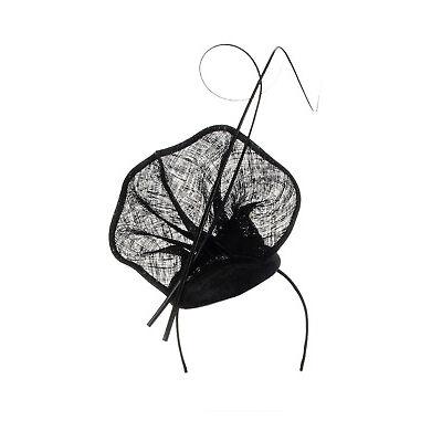 NEW Olga Berg Lauren Sinamay Fascinator Black
