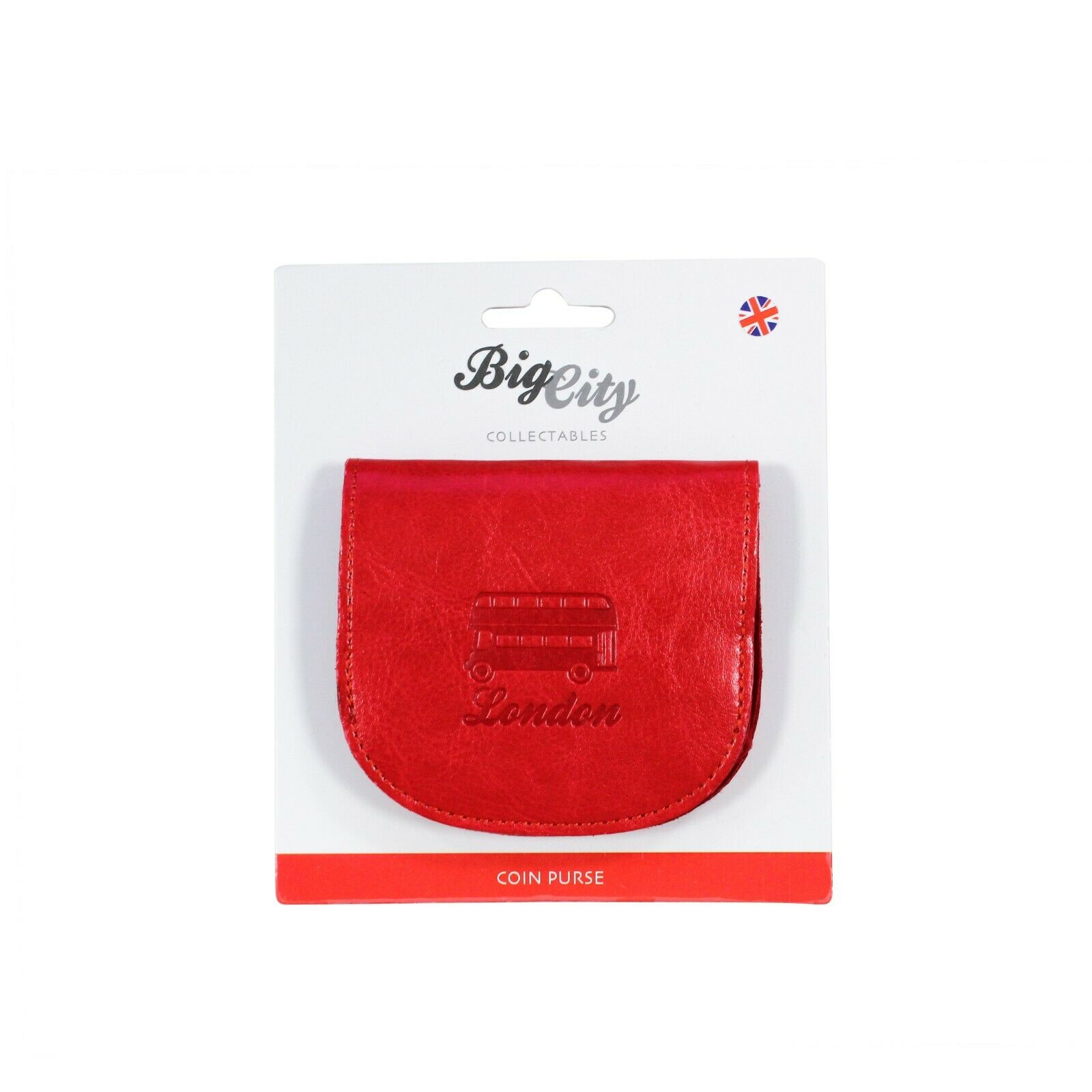 British Big City Red London Double Decker Bus Embossed Small Clam Coin Purse