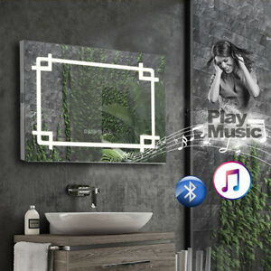 Bathroom Mirror With Led Lights Bluetooth Shaver Socket Demister