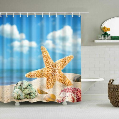 180x180cm Waterproof Fabric Bathroom Curtain Sheer Shower Panel Decor 12 Hooks