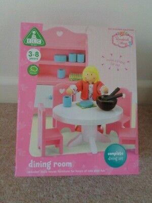 Elc Rosebud sala da pranzo Villaggio casa delle bambole mobili sala da pranzo in legno NUOVO