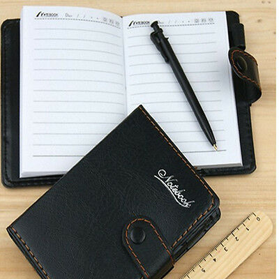 1 Black Mini Stationery Diary Book Notepad Notebook Pocketbook Note With Ballpen
