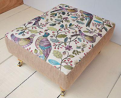 Handmade Large Footstool - Voyage Embroidery Fabrics Choice of Legs & 9 Designs!