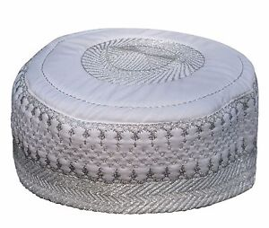 NEW-White-Metallic-Silver-Thread-Islamic-Thinly-Padded-Embroidery-Kufi-Hat-Cap