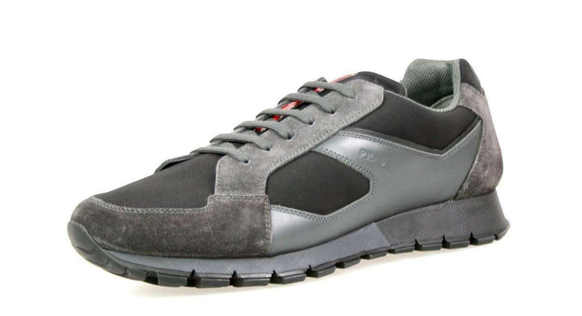 LUXURY PRADA MATCHRACE SNEAKERS SHOES 4E2932 BLACK GREY 8 42 42,5