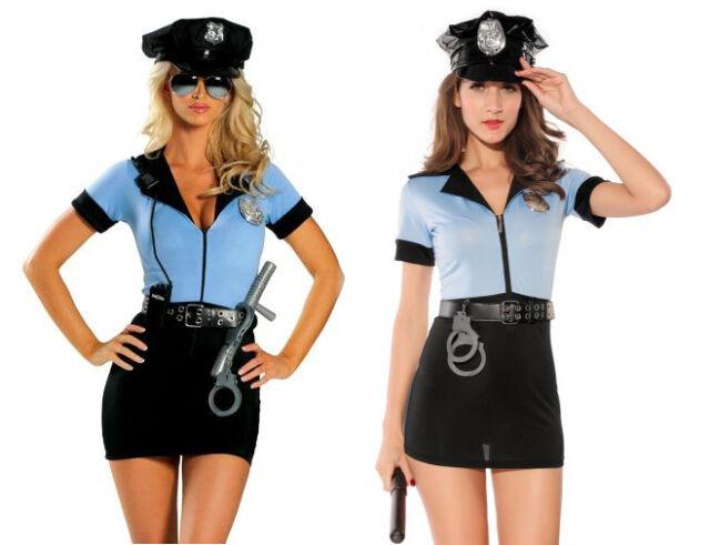 Adult Women Blue Police Cop Uniform Costume Halloween Fashion Outfit Dress Set