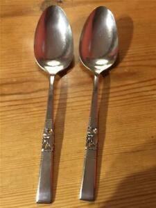 2-x-Vintage-Oneida-Morning-Star-Community-Plate-EPNS-Table-Spoons-21-3cm