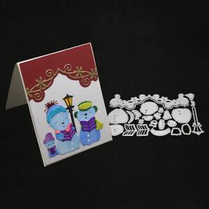 Stanzschablone-Schneemann-Chor-Liane-Weihnachts-Hochzeit-Geburtstag-Karte-Album