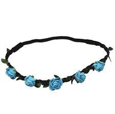 Blue Flower Headband Braided Crown Hair Elastic Boho Hippie Hair Band Fashion