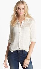 Free People Saddle Up Plaid Lace Yoke Button Down Shirt Blouse Ivory Size Medium
