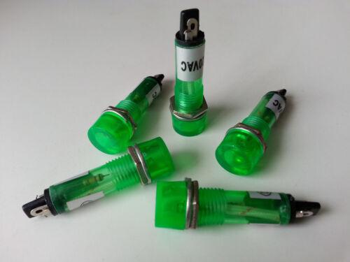 10pcs 220V AC 10mm Green Power Indicator Signal Light XD10-3
