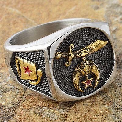 Shriners Masonic Men's Ring Mason Mystic Lodge Freemason 24K Gold Tone Size 9-13
