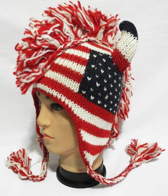british usa italien flag Horn Mohawk Hat beanie Pilot handmade Wool Fleecelining