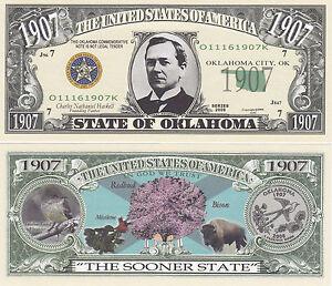 10-Oklahoma-OK-Patriotic-State-Quarter-Novelty-Bill-Lot